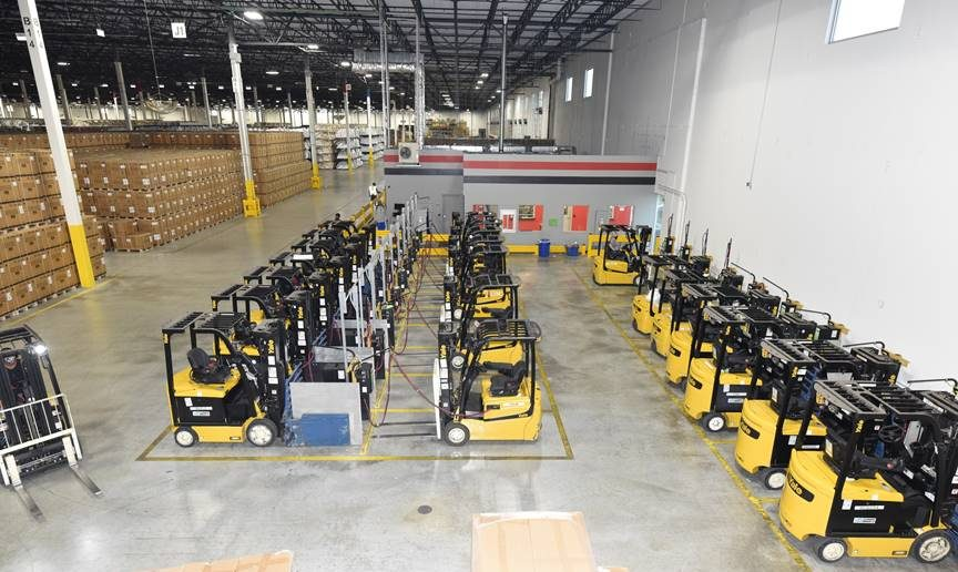 Briggs & Stratton distribution center forklift fleet powered by OneCharge Li-ion Batteries.